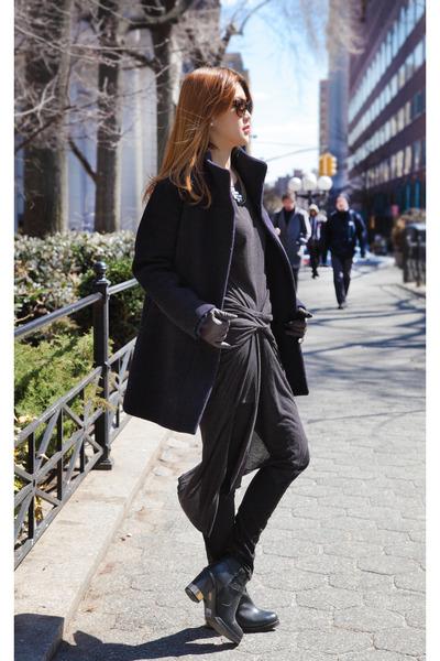 black Topshop boots - black All Saints dress - navy J Crew coat