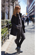 black Topshop boots - black All Saints dress - navy J Crew coat