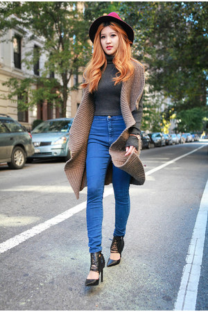 light brown All Saints sweater - blue Topshop jeans - black Dolce Vita heels