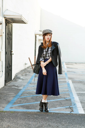 navy Chictopia skirt - black Topshop boots - camel Goorin Brothers hat