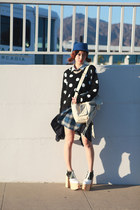 black BCBGeneration sweater - blue Chictopia hat - navy Muzi Q skirt