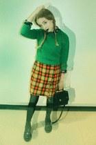 court bag coach bag - 1490s doc martens boots - wool sweater