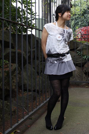 black H&M skirt - black cynthia rowley tights - black H&M belt - white Urban Out