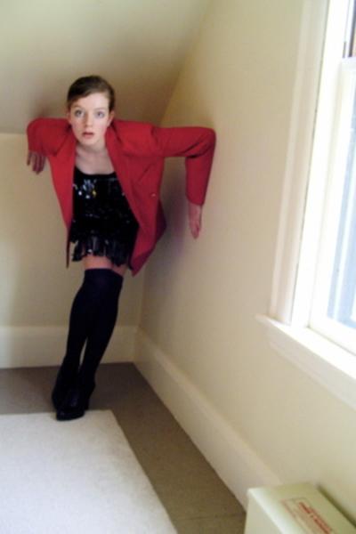 thrifted blazer - self-made dress - H&M socks - Nine West shoes