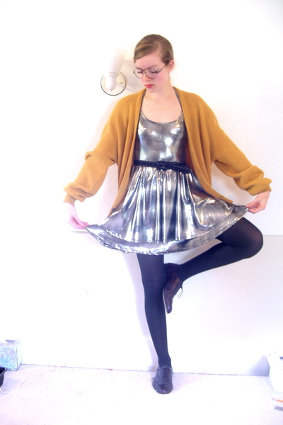 vintage sweater - Wet Seal dress - CVS tights - thrifted shoes - fake glasses -