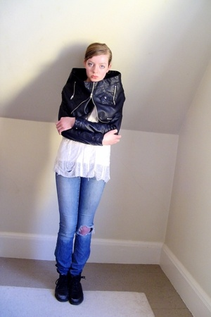 H&M jacket - DIY top - old jeans - thrifted boots