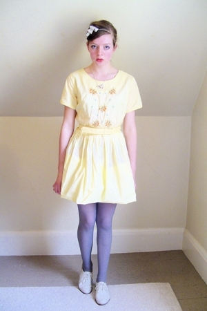 white oxford thrifted shoes - yellow 50s vintage dress - gray Primark tights