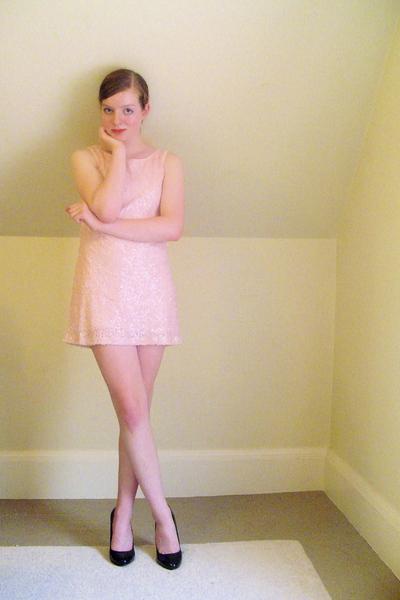 black patent pumps Target shoes - pink sequin H&M dress