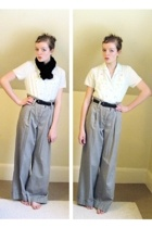 thrifted blouse - old belt - Express pants - vintage accessories - thrifted acce