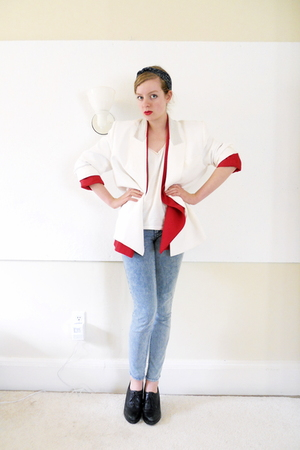 thrifted blazer - thrifted blazer - DIY top - TJ Maxx jeans - Nine West shoes -