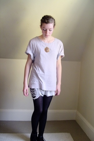 H&M t-shirt - DIY top - tights - thrifted shoes - made by me necklace
