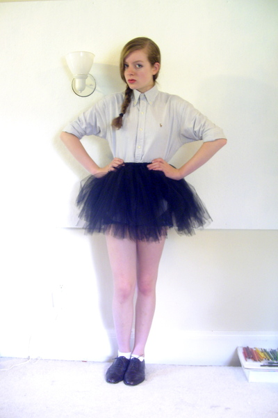 Secondhand shirt - made by me skirt -  socks - thrifted shoes