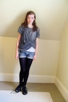 DIY t-shirt - diy top - Secondhand shorts - CVS tights - thrifted boots - found
