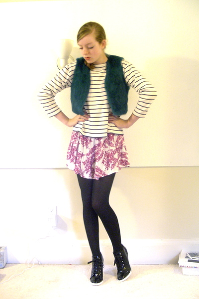 thrifted vest - thrifted sweater - H&M dress - CVS tights - BCBGirls shoes