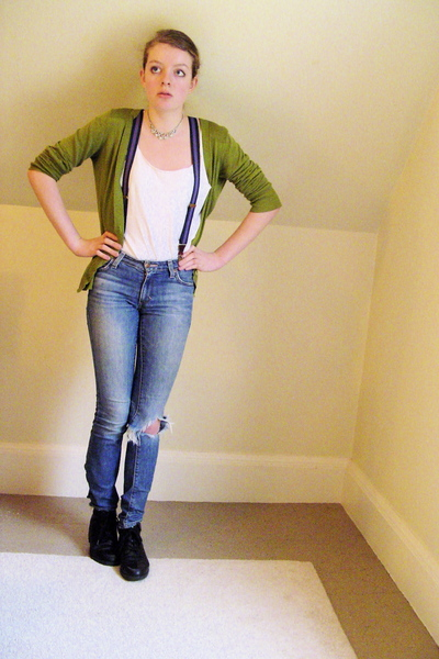 green Secondhand sweater - black thrifted boots - blue old jeans