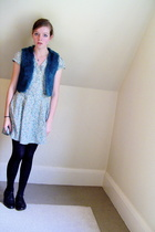 thrifted vest - Primark dress - tights - thrifted shoes