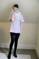 H&M t-shirt - self-made dress - tights - Nine West shoes - self-made accessories