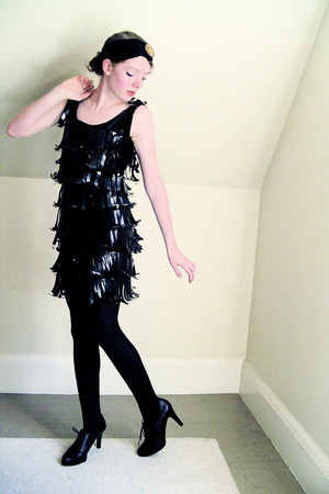 self-made dress - tights - Nine West shoes - self-made accessories - yard sale a
