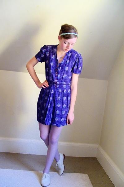 vintage Diane von Furstenberg dress - thrifted tights - thrifted shoes - diy acc