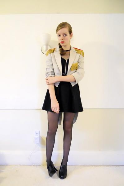 vintage jacket - made by me dress - CVS stockings - Nine West shoes