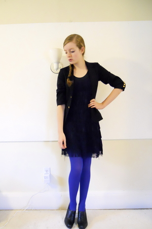 thrifted blazer - H&amp;M dress - H&amp;M tights - Nine West shoes