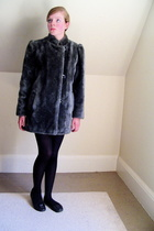 thrifted coat - tights - shoes