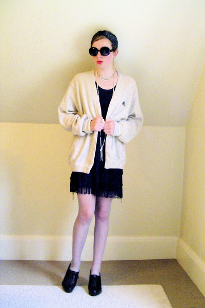 Urban Outfitters sunglasses - thrifted sweater - H&M dress - thrifted stockings