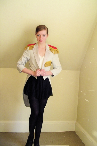 black pleated H&M skirt - black shoes - gray vintage coat - black CVS tights