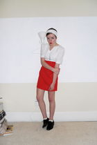 red vintage dress - white DIY accessories - silver vintage necklace - brown thri