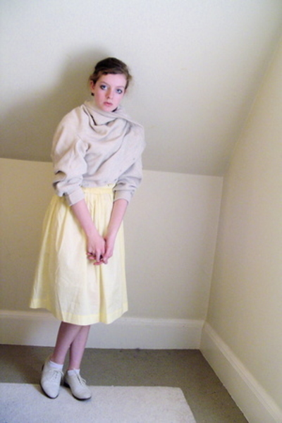 vintage dress - thrifted sweater - thrifted shoes