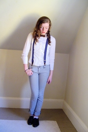 H&M shirt - borrowed accessories - Express pants - thrifted shoes - dads accesso