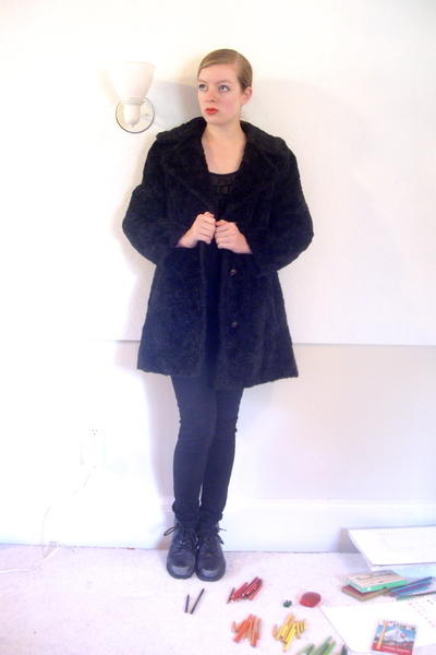 vintage coat - Urban Outfitters top - Forever 21 jeans - thrifted boots