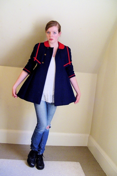 vintage coat - DIY top - old jeans - thrifted shoes - found accessories