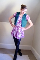 thrifted vest - H&M dress - DIY tights - H&M tights - filenes basement tights -