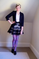 pink plaid thrifted tights - black Nine West shoes - blue kids thrifted blazer