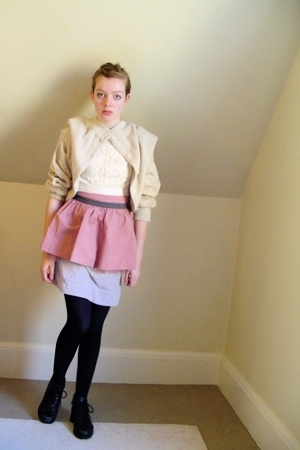 black thrifted shoes - beige thrifted sweater - black tights - pink Target skirt
