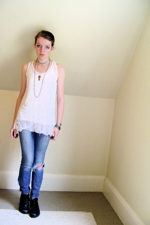 silver accessories - black thrifted shoes - blue old jeans - white DIY top