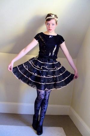thrifted dress - old belt - vintage skirt - H&M tights - Nine West shoes - diy a