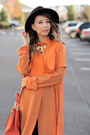 Orange-chiffon-fevrie-coat-black-romwe-hat-orange-prada-bag