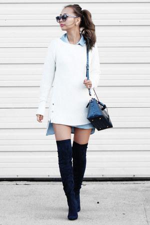 white calvin klein sweater - navy Public desire boots