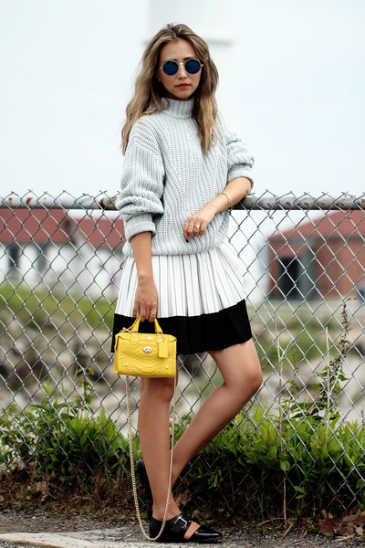 White-front-row-shop-dress-yellow-coach-bag-black-missguided-flats