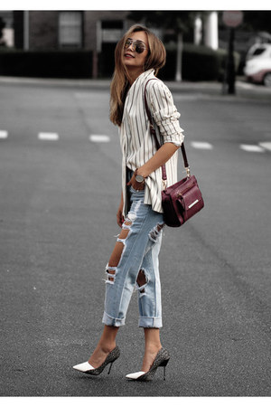 magenta JustFab bag - white Shoes shoes - light blue style moi jeans