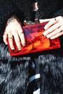 Black-fur-tobi-coat-red-amiclubwear-bag-red-blackfive-skirt