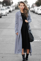 heather gray Lulus coat - black luluscom boots - black Forever 21 dress