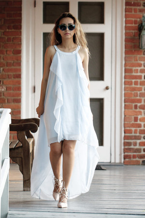 peach zaful sandals - sky blue Sheinside dress - navy zeroUV sunglasses