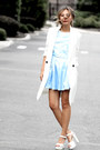 Sky-blue-asos-dress-white-missguided-blazer-white-the-real-real-sandals