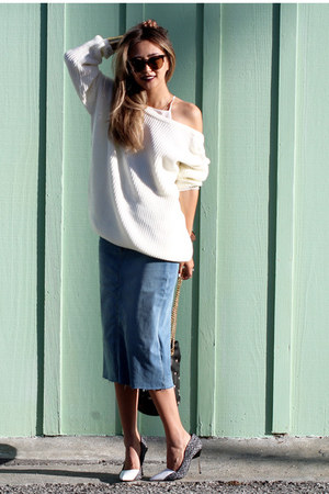 white Lulus sweater - sky blue Saks Fifth avenue skirt - white Nordstrom heels