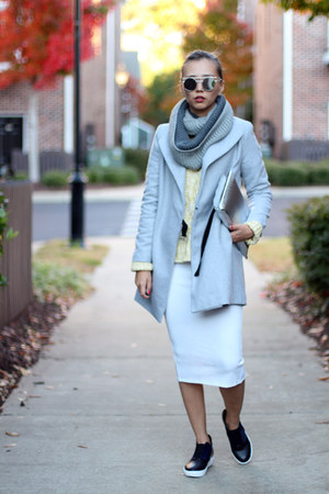 gray OASAP scarf - navy Shellys London shoes - heather gray OASAP coat