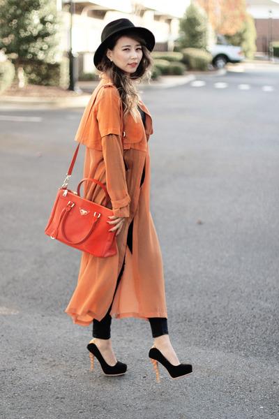 orange chiffon Fevrie coat - black romwe hat - orange Prada bag