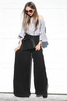 white Sheinside top - black Prada sunglasses - black farfetch pants